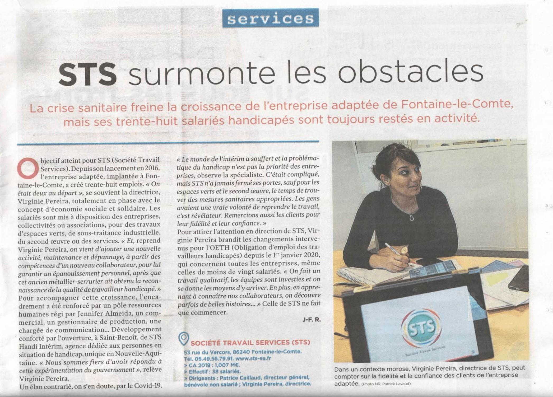"""Article de journal de la Nouvelle République : """"STS surmonte les obstacles"""""""
